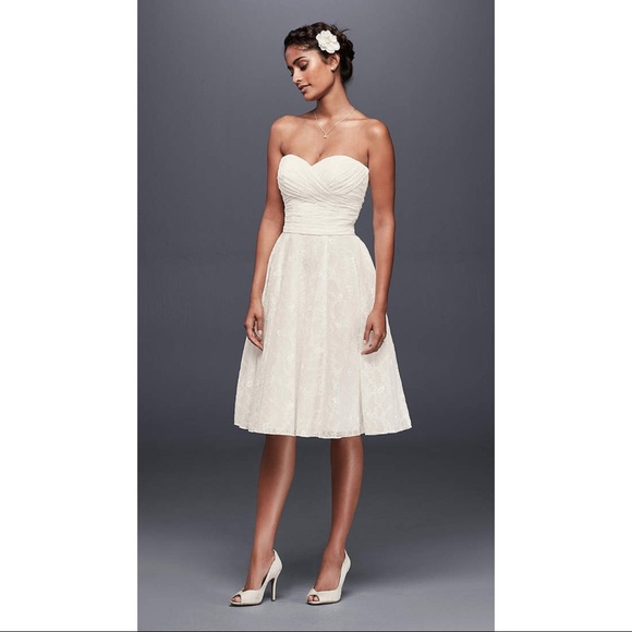 b781c735de41 David's Bridal Dresses | Galina Strapless Lace Short Wedding Dress ...